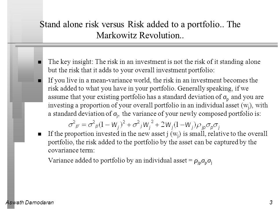 Aswath Damodaran4 The CAPM…Sharpe and Lintner to the rescue..