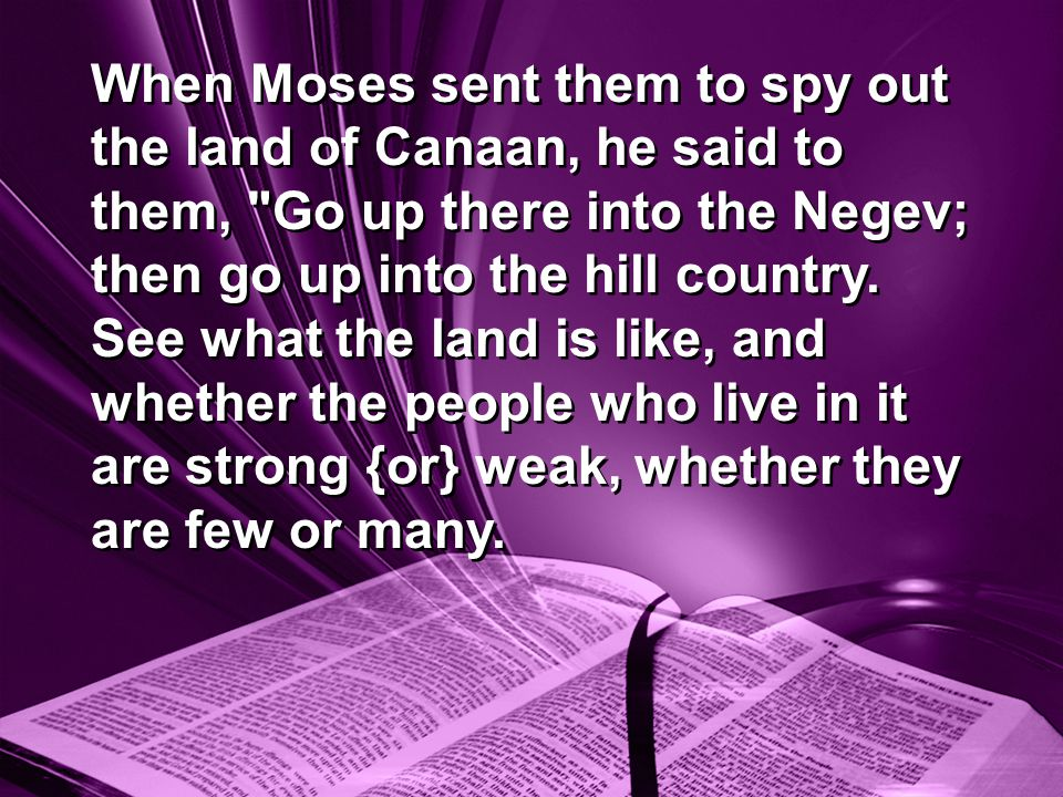 When Moses sent them to spy out the land of Canaan, he said to them, Go up there into the Negev; then go up into the hill country.
