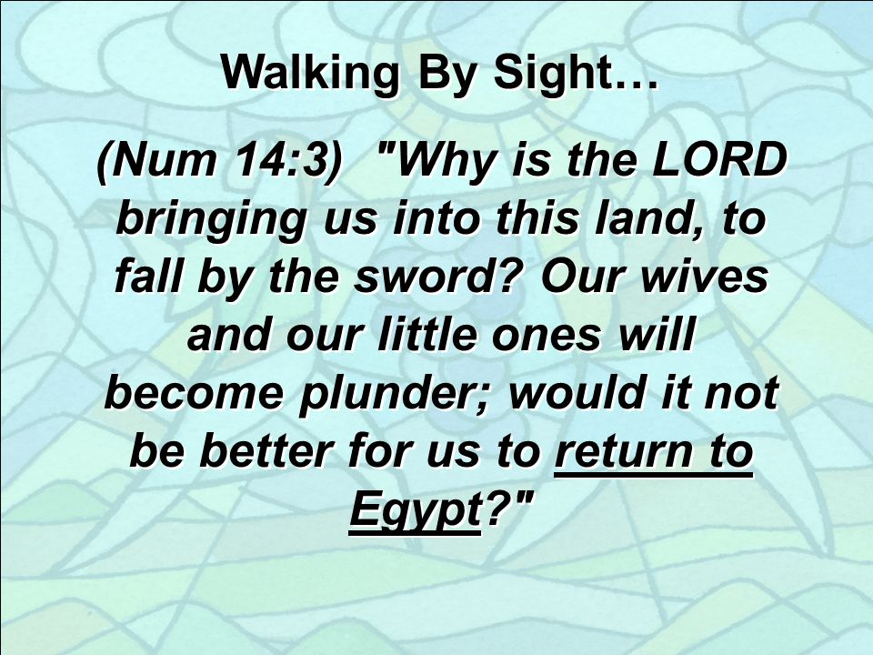 Walking By Sight… (Num 14:3) Why is the LORD bringing us into this land, to fall by the sword.