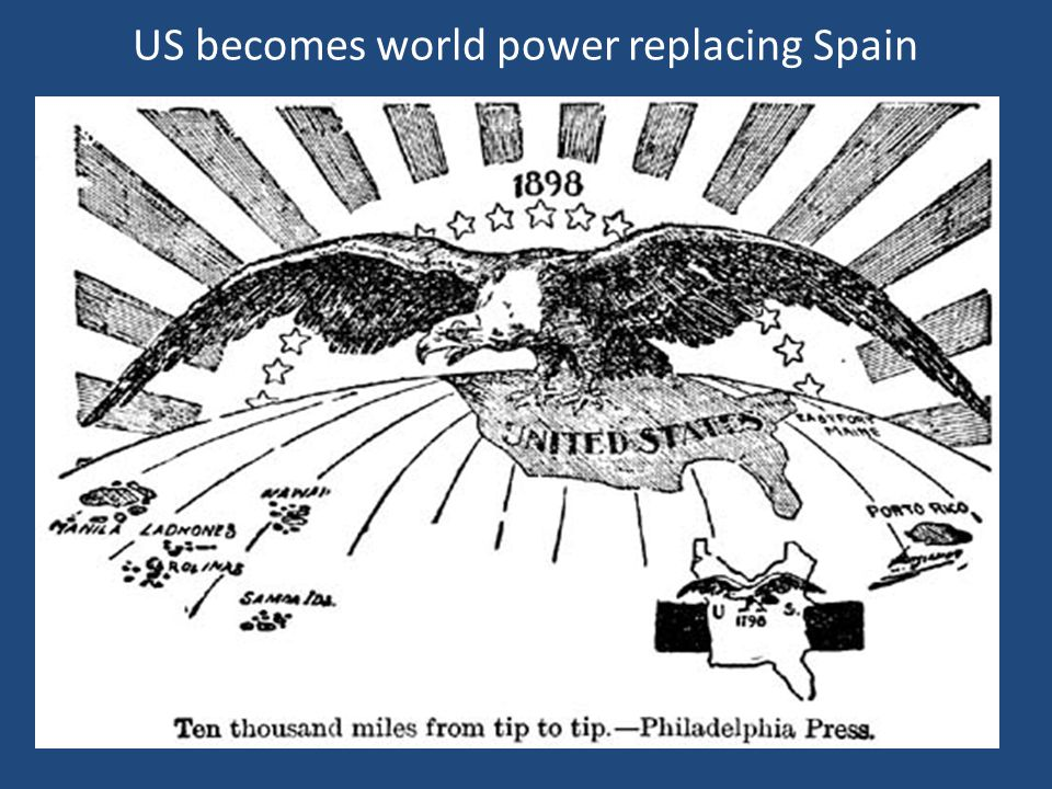 US becomes world power replacing Spain