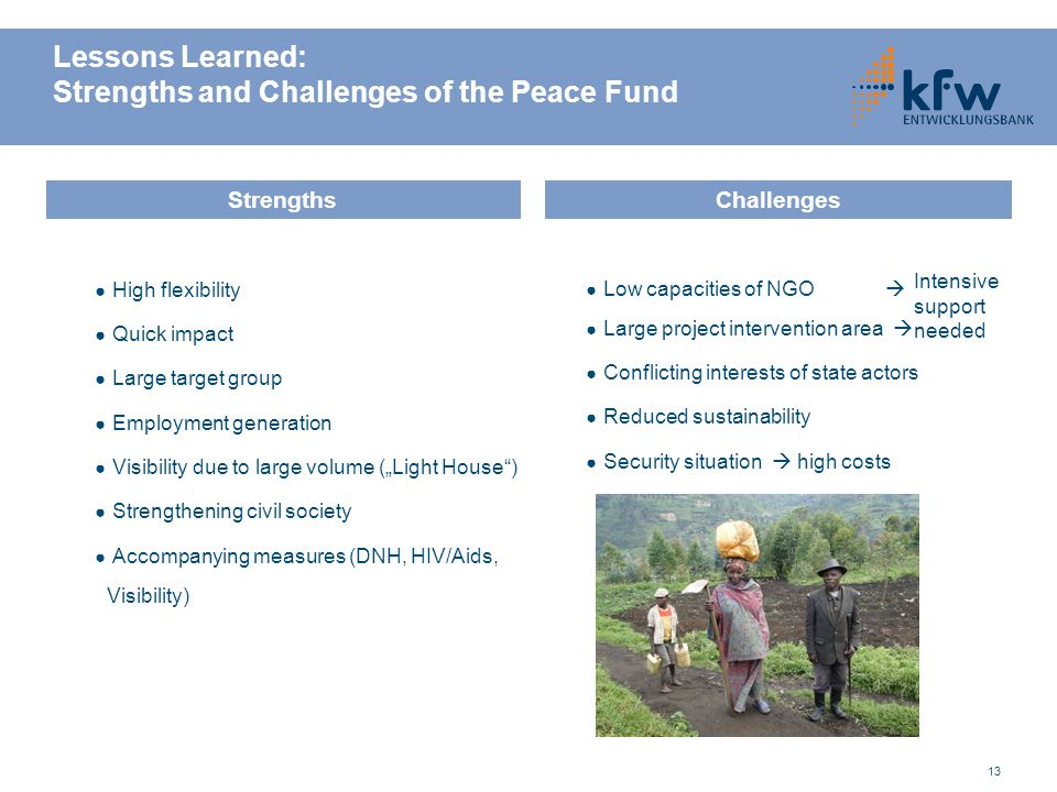 13 Lessons Learned: Strengths and Challenges of the Peace Fund ● High flexibility ● Quick impact ● Large target group ● Employment generation ● Visibi