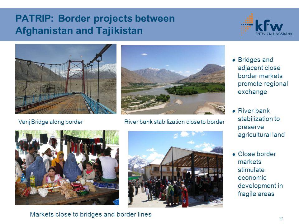 22 PATRIP: Border projects between Afghanistan and Tajikistan ● Bridges and adjacent close border markets promote regional exchange ● River bank stabi