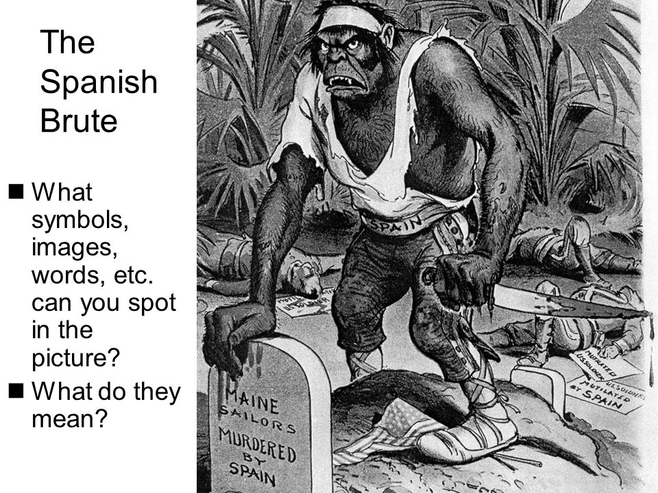 The Spanish Brute What symbols, images, words, etc. can you spot in the picture? What do they mean?
