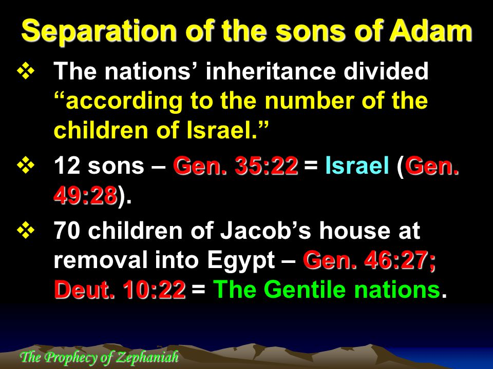 """The Prophecy of Zephaniah  The nations' inheritance divided """"according to the number of the children of Israel."""" Gen. 35:22Gen. 49:28  12 sons – Gen"""