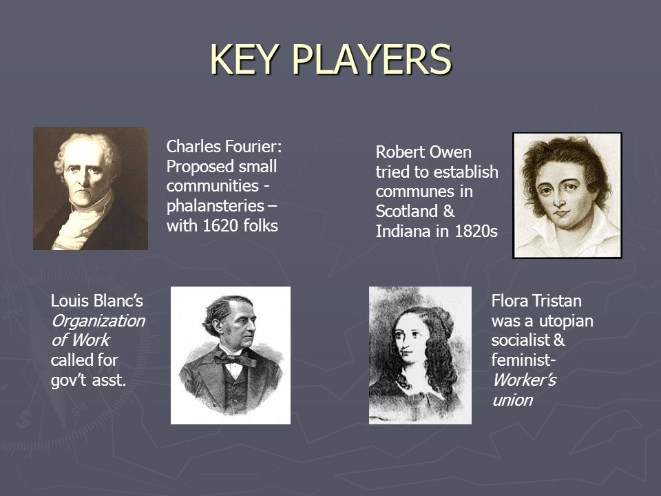 KEY PLAYERS Charles Fourier: Proposed small communities - phalansteries – with 1620 folks Robert Owen tried to establish communes in Scotland & Indiana in 1820s Louis Blanc's Organization of Work called for gov't asst.