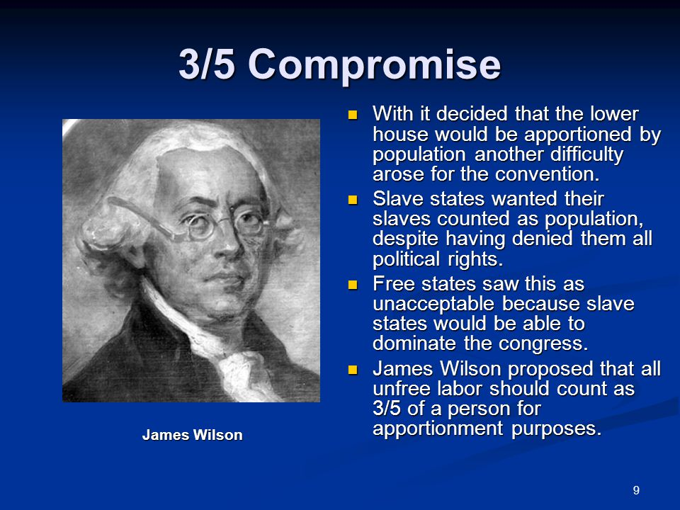 9 3/5 Compromise With it decided that the lower house would be apportioned by population another difficulty arose for the convention.