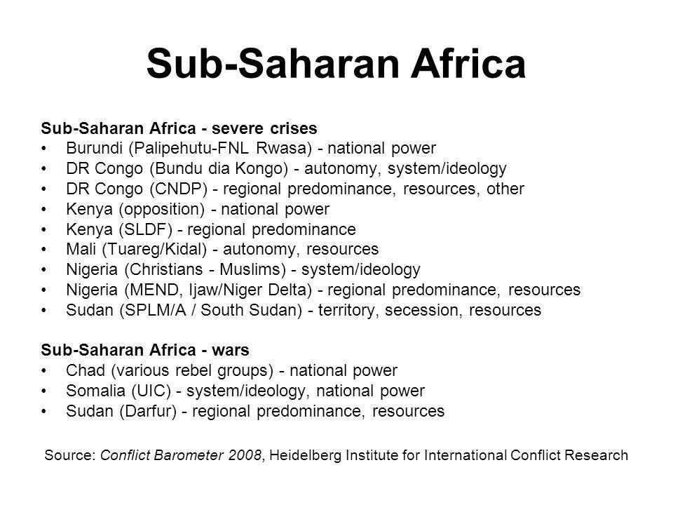 Sub-Saharan Africa Sub-Saharan Africa - severe crises Burundi (Palipehutu-FNL Rwasa) - national power DR Congo (Bundu dia Kongo) - autonomy, system/id