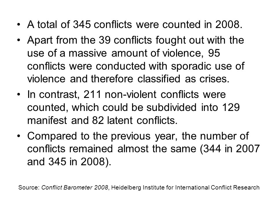 Source: Conflict Barometer 2008, Heidelberg Institute for International Conflict Research