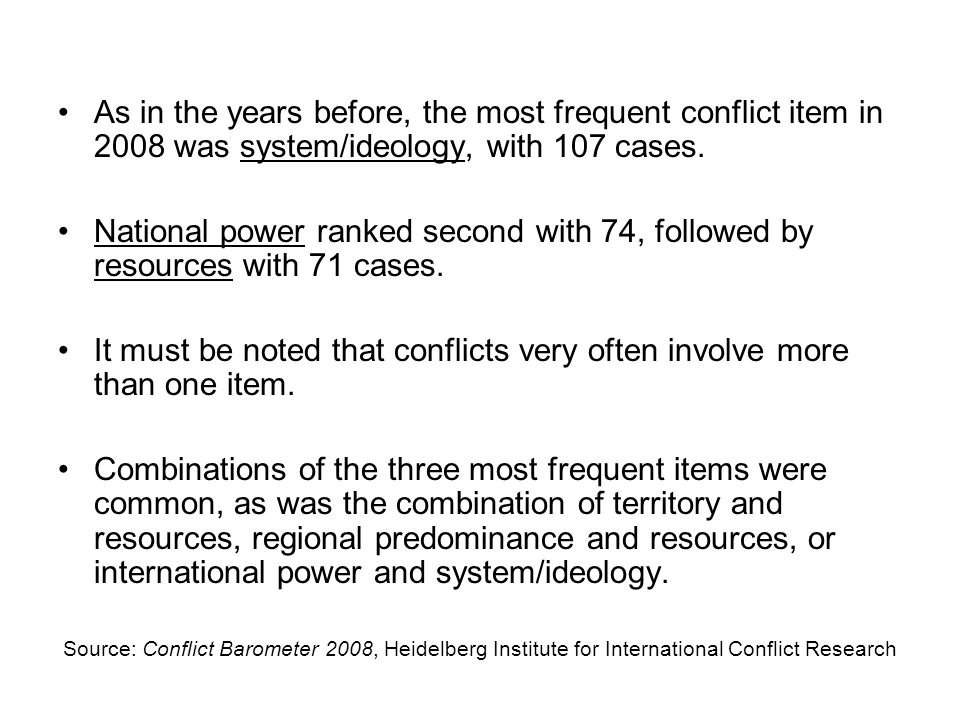 As in the years before, the most frequent conflict item in 2008 was system/ideology, with 107 cases. National power ranked second with 74, followed by