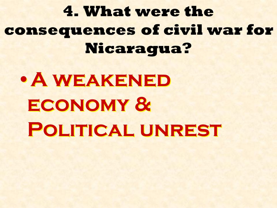 4.What were the consequences of civil war for Nicaragua.