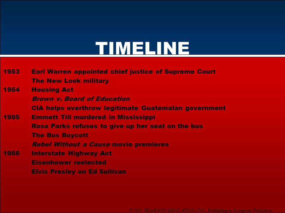 ©2003 PEARSON EDUCATION, INC. Publishing as Longman Publishers TIMELINE 1953Earl Warren appointed chief justice of Supreme Court The New Look military