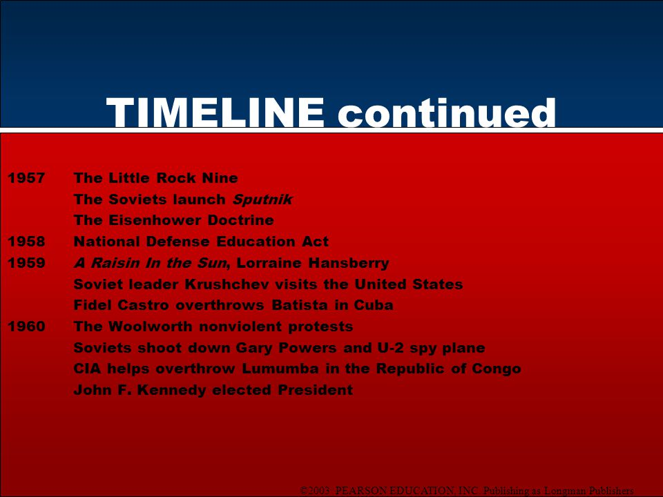 ©2003 PEARSON EDUCATION, INC. Publishing as Longman Publishers TIMELINE continued 1957The Little Rock Nine The Soviets launch Sputnik The Eisenhower D