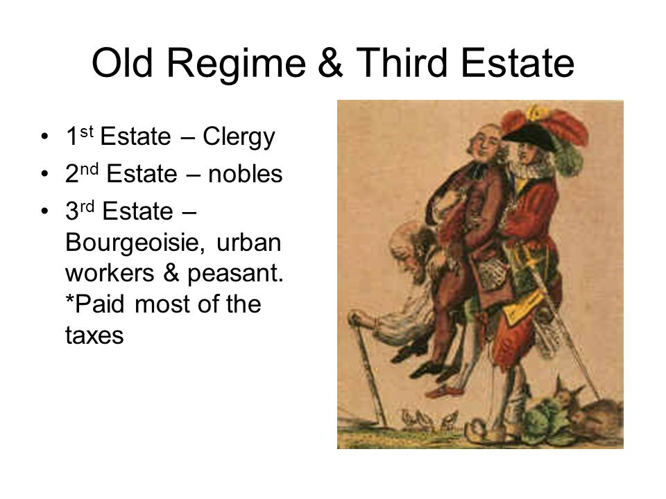 Old Regime & Third Estate 1 st Estate – Clergy 2 nd Estate – nobles 3 rd Estate – Bourgeoisie, urban workers & peasant.