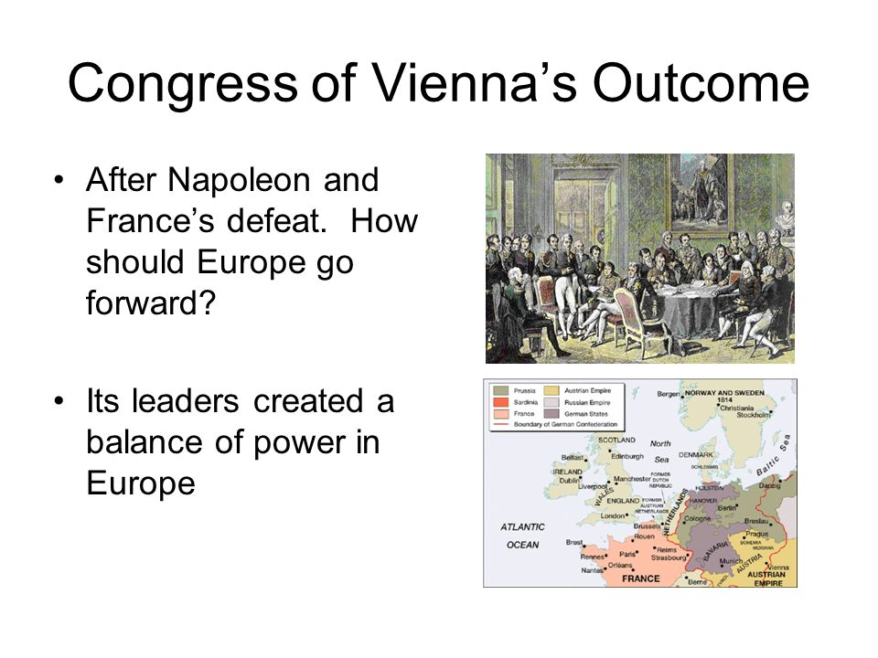 Congress of Vienna's Outcome After Napoleon and France's defeat.