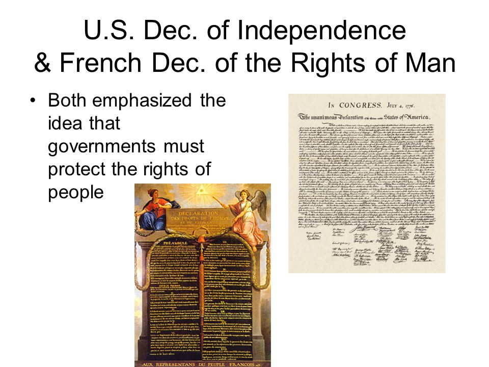 U.S. Dec. of Independence & French Dec.