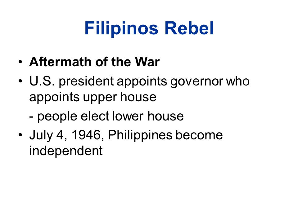 Filipinos Rebel Aftermath of the War U.S.
