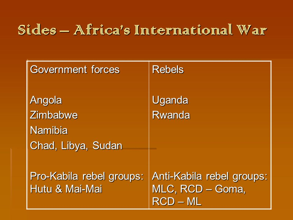 Sides – Countries' Motives  Angola: o fighting Unita rebels, whose home base was in S.