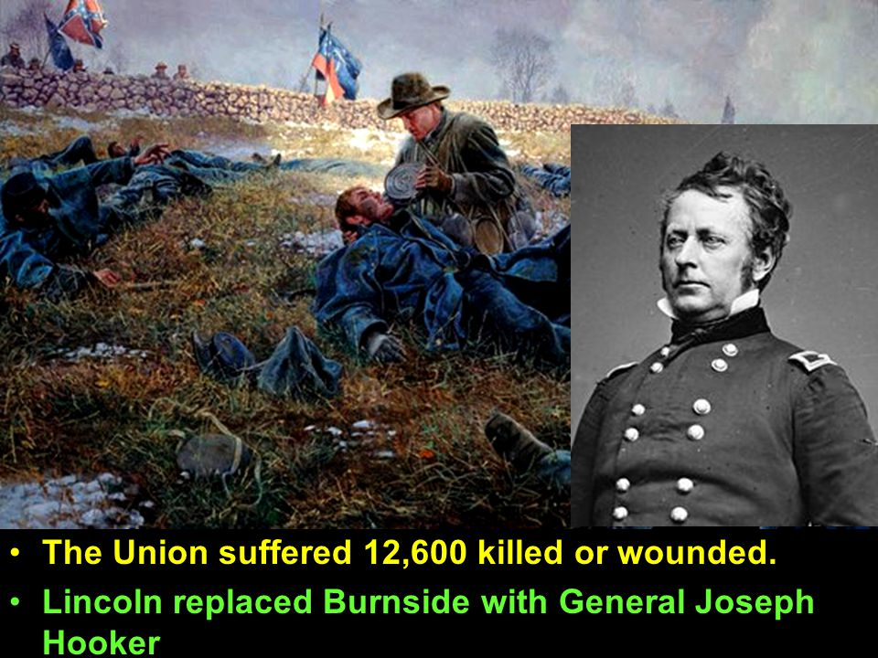 The Union suffered 12,600 killed or wounded. Lincoln replaced Burnside with General Joseph Hooker The Union suffered 12,600 killed or wounded. Lincoln