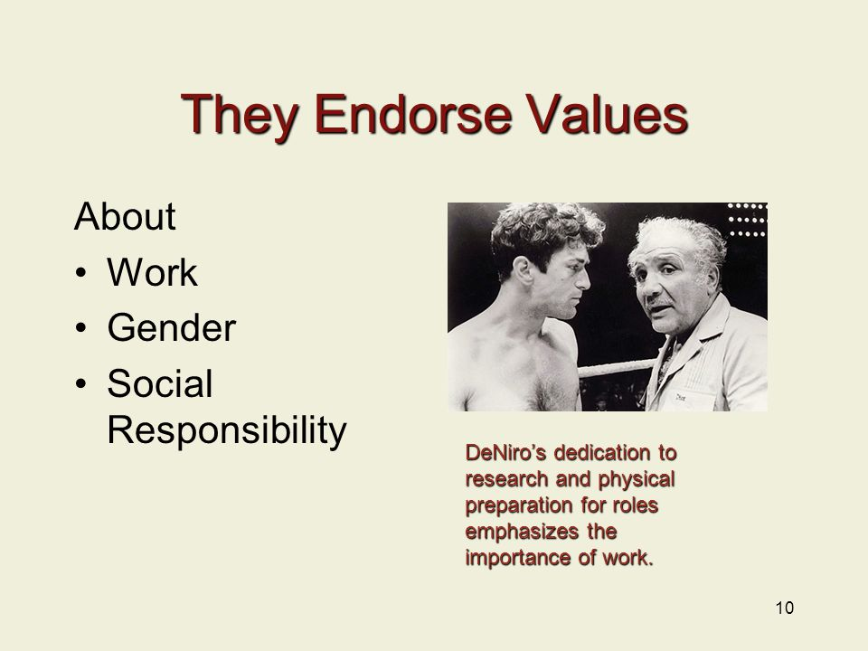 They Endorse Values About Work Gender Social Responsibility 10 DeNiro's dedication to research and physical preparation for roles emphasizes the importance of work.