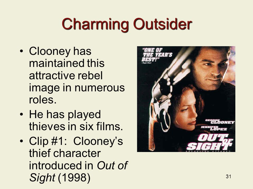 31 Charming Outsider Clooney has maintained this attractive rebel image in numerous roles.