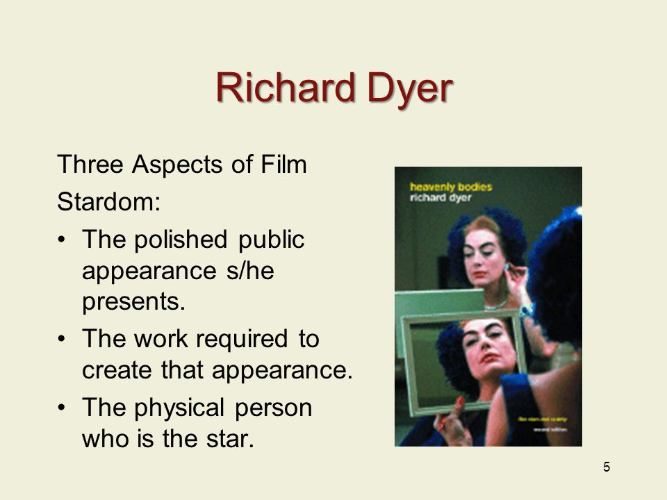 Richard Dyer Three Aspects of Film Stardom: The polished public appearance s/he presents.