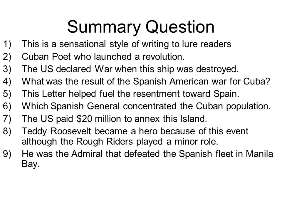 Summary Question 1)This is a sensational style of writing to lure readers 2)Cuban Poet who launched a revolution.