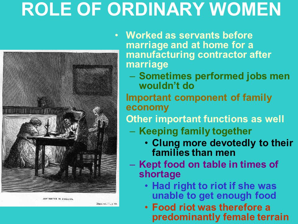 ROLE OF ORDINARY WOMEN Worked as servants before marriage and at home for a manufacturing contractor after marriage –Sometimes performed jobs men woul