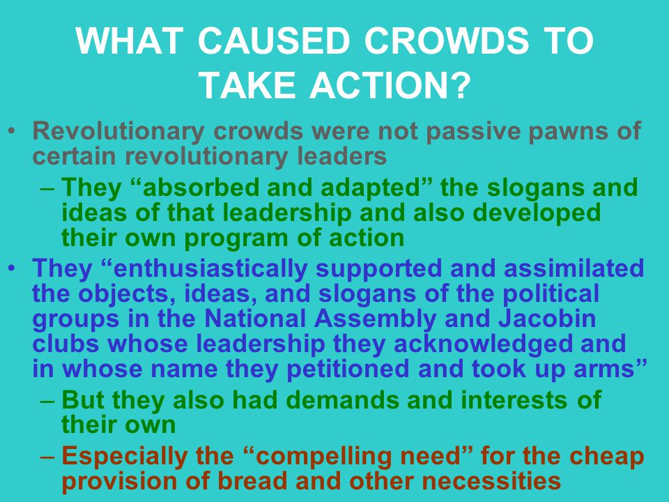 """WHAT CAUSED CROWDS TO TAKE ACTION? Revolutionary crowds were not passive pawns of certain revolutionary leaders –They """"absorbed and adapted"""" the sloga"""