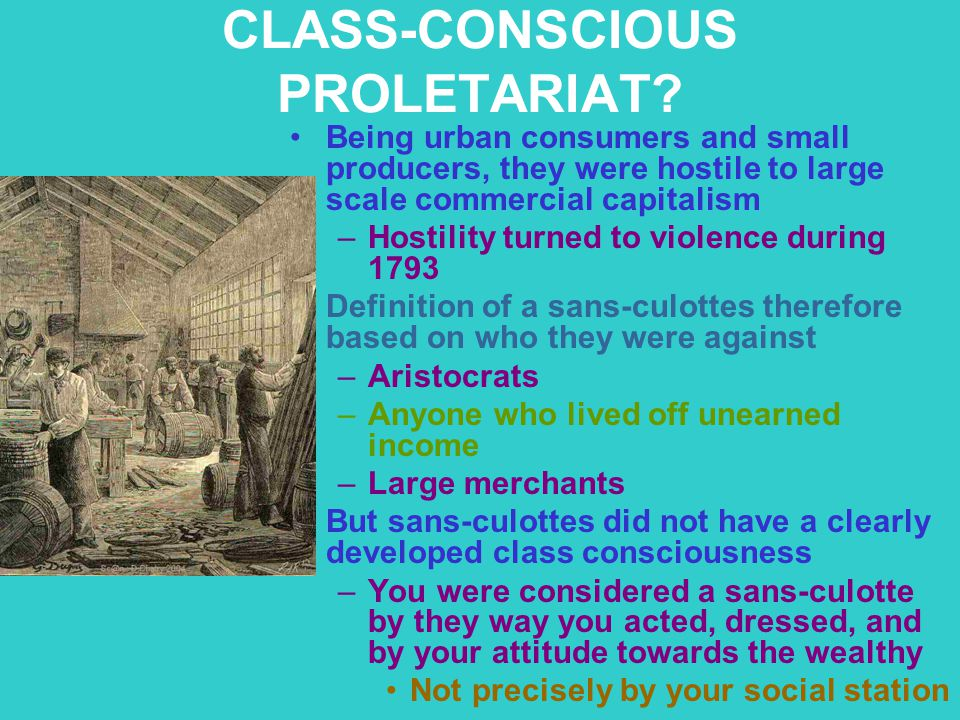 CLASS-CONSCIOUS PROLETARIAT? Being urban consumers and small producers, they were hostile to large scale commercial capitalism –Hostility turned to vi