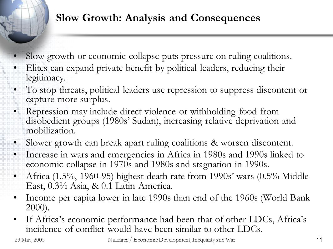23 May, 2005Nafziger / Economic Development, Inequality and War11 Slow Growth: Analysis and Consequences Slow growth or economic collapse puts pressure on ruling coalitions.