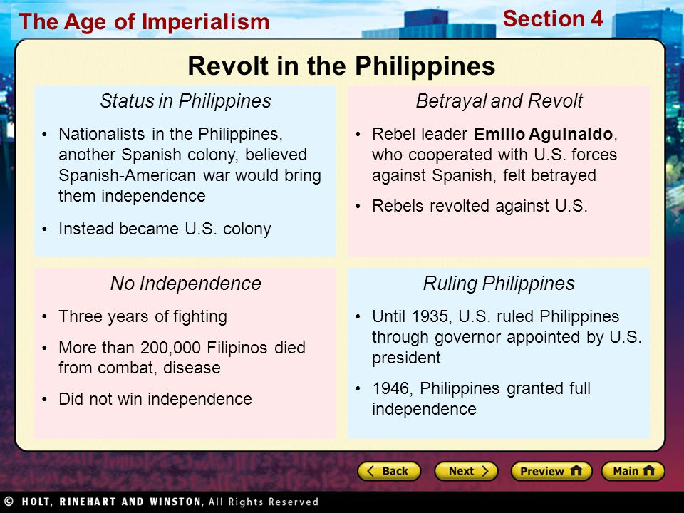 The Age of Imperialism Section 4 Status in Philippines Nationalists in the Philippines, another Spanish colony, believed Spanish-American war would br