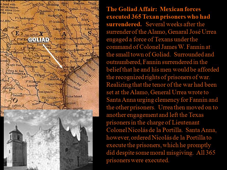 The Goliad Affair: Mexican forces executed 365 Texan prisoners who had surrendered. Several weeks after the surrender of the Alamo, Genaral José Urrea