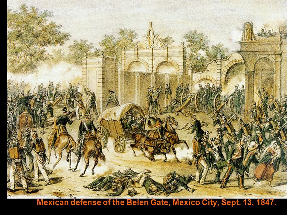 Mexican defense of the Belen Gate, Mexico City, Sept. 13, 1847.