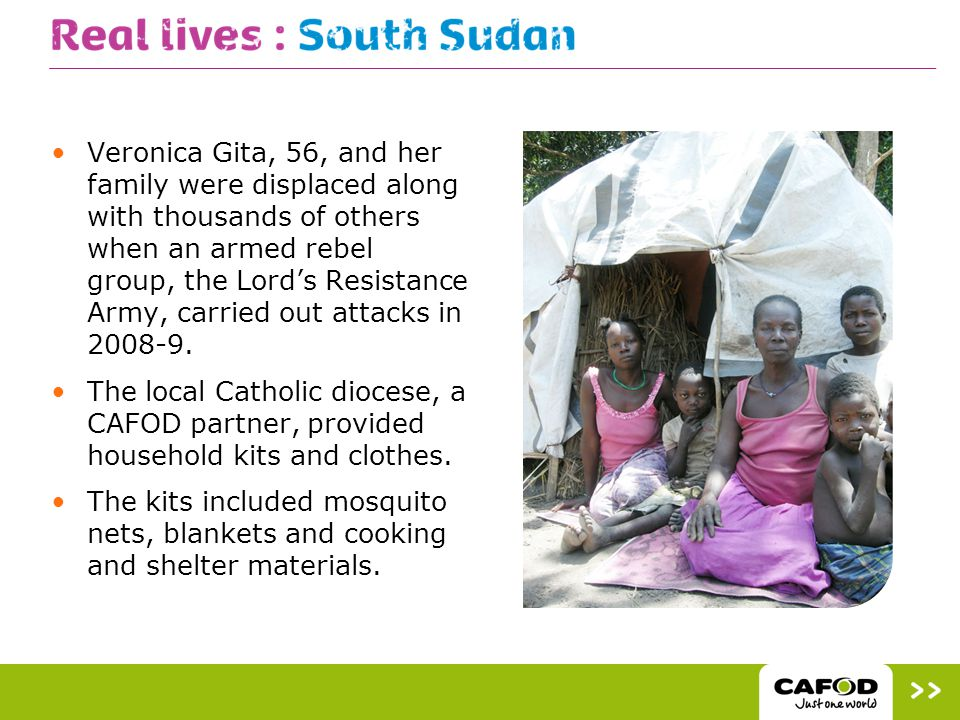 The diocese gave Veronica a household kit: Before receiving help it was difficult even to cook, but after receiving it helped us up to now to survive. She would like to return home: When the attack started there was a lot of noise.