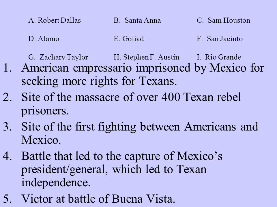 A. Robert Dallas B. Santa AnnaC. Sam Houston D.