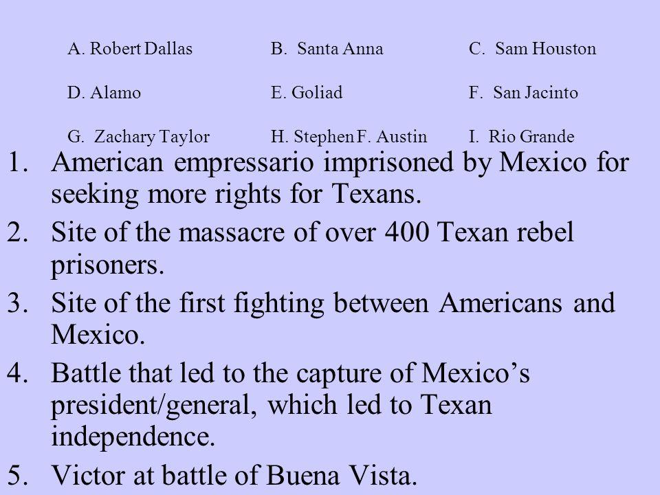 A.Winfield Scott B. Santa AnnaC. Sam Houston D. AlamoE.