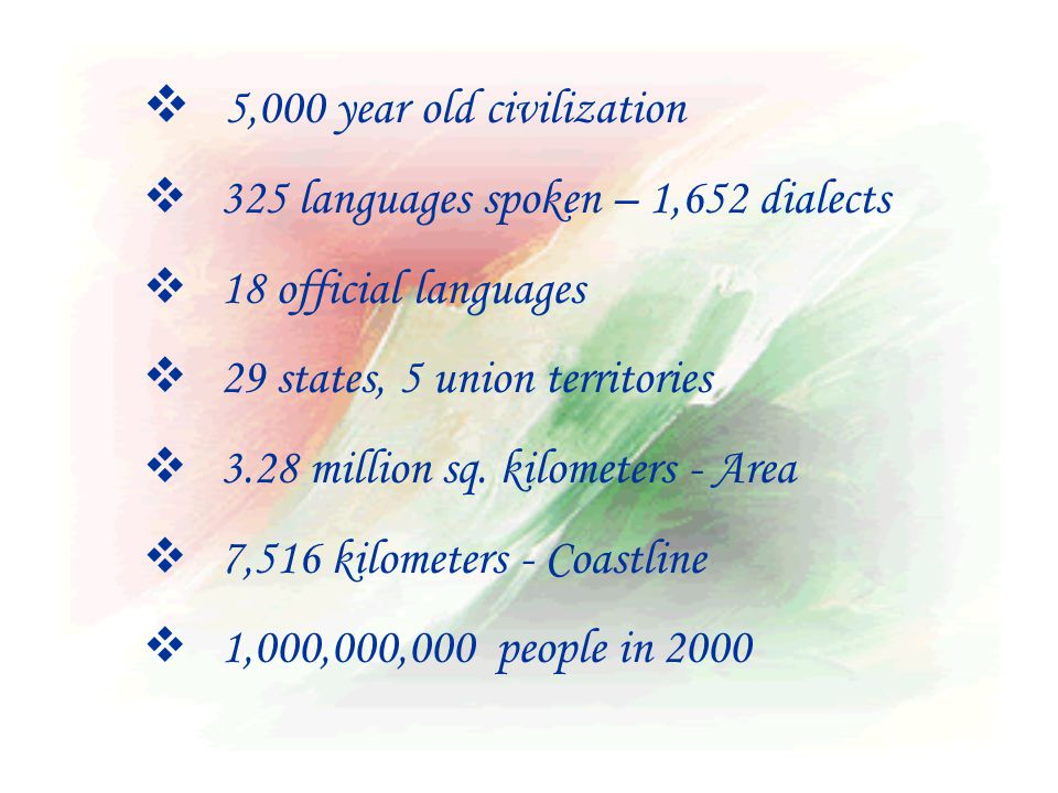  5,000 year old civilization  325 languages spoken – 1,652 dialects  18 official languages  29 states, 5 union territories  3.28 million sq.