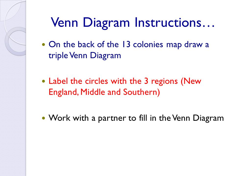 Venn Diagram Instructions… On the back of the 13 colonies map draw a triple Venn Diagram Label the circles with the 3 regions (New England, Middle and