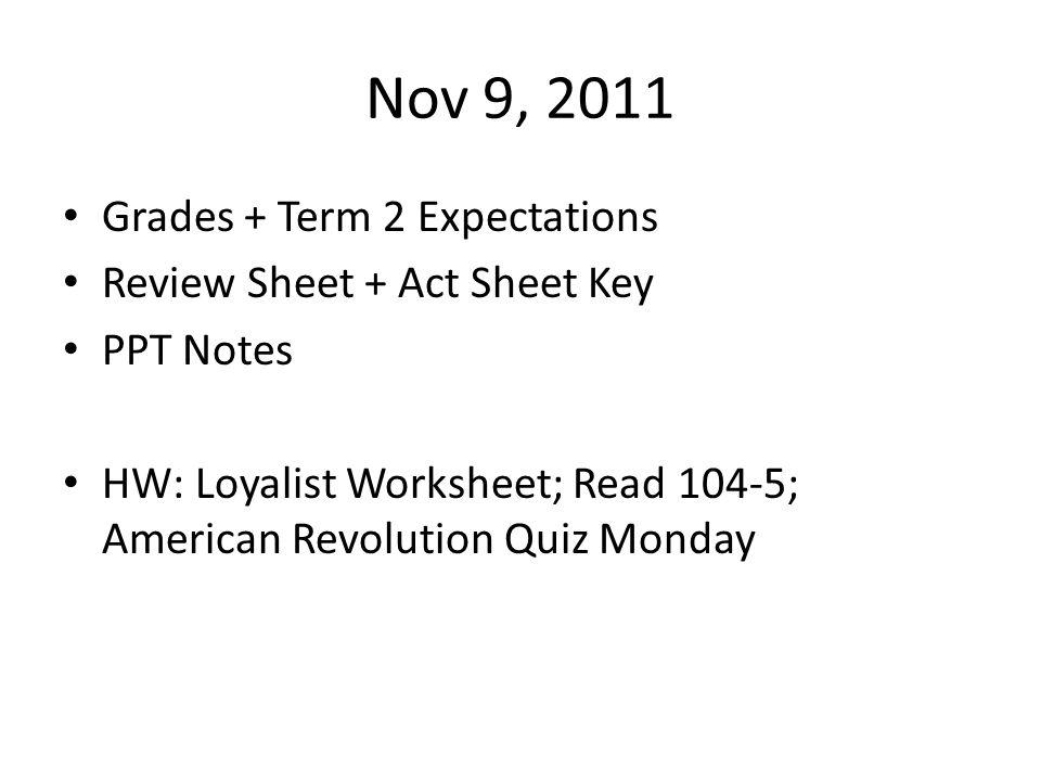 Nov 9, 2011 Grades + Term 2 Expectations Review Sheet + Act Sheet Key PPT Notes HW: Loyalist Worksheet; Read 104-5; American Revolution Quiz Monday