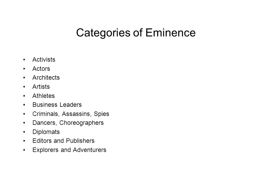 Categories of Eminence Activists Actors Architects Artists Athletes Business Leaders Criminals, Assassins, Spies Dancers, Choreographers Diplomats Editors and Publishers Explorers and Adventurers