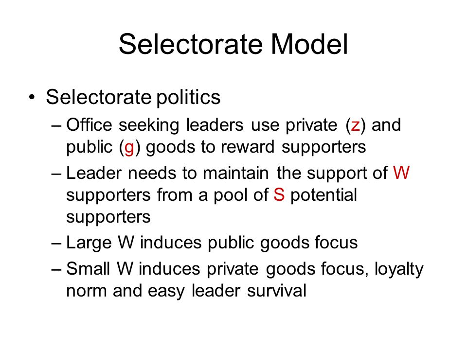 Endogenous Institutional Choice Rebellions by outsiders to increase W Coups by a subset of W (to reduce W/S) Leader's institutional changes –Rationalize Institutions with the Policies!