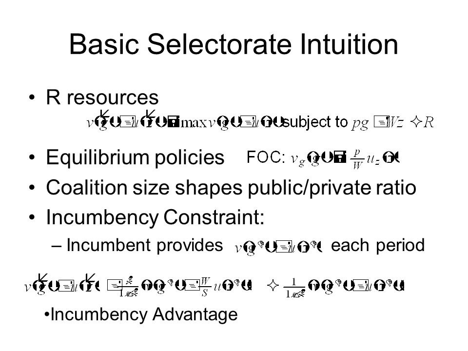 Basic Selectorate Intuition R resources Equilibrium policies Coalition size shapes public/private ratio Incumbency Constraint: –Incumbent provides each period Incumbency Advantage