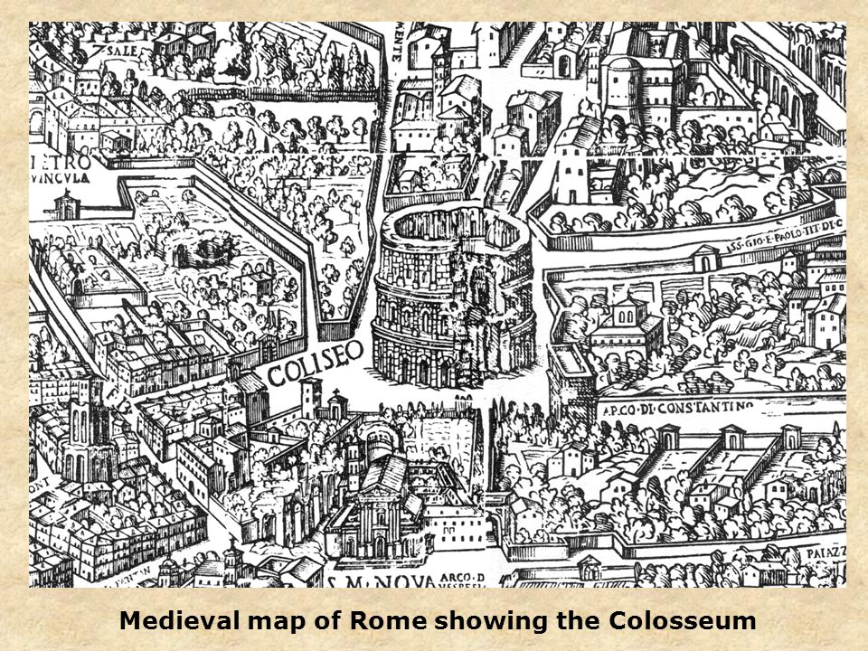 Medieval map of Rome showing the Colosseum