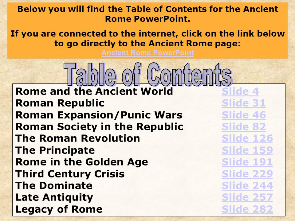 Rome and the Ancient WorldSlide 4Slide 4 Roman RepublicSlide 31Slide 31 Roman Expansion/Punic WarsSlide 46Slide 46 Roman Society in the RepublicSlide 82Slide 82 The Roman RevolutionSlide 126Slide 126 The PrincipateSlide 159Slide 159 Rome in the Golden AgeSlide 191Slide 191 Third Century CrisisSlide 229Slide 229 The DominateSlide 244Slide 244 Late AntiquitySlide 257Slide 257 Legacy of RomeSlide 282Slide 282 Below you will find the Table of Contents for the Ancient Rome PowerPoint.