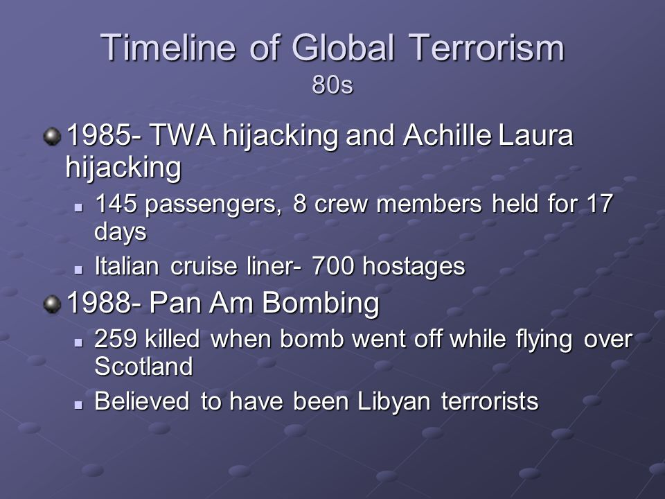 Timeline of Global Terrorism 80s 1985- TWA hijacking and Achille Laura hijacking 145 passengers, 8 crew members held for 17 days 145 passengers, 8 cre