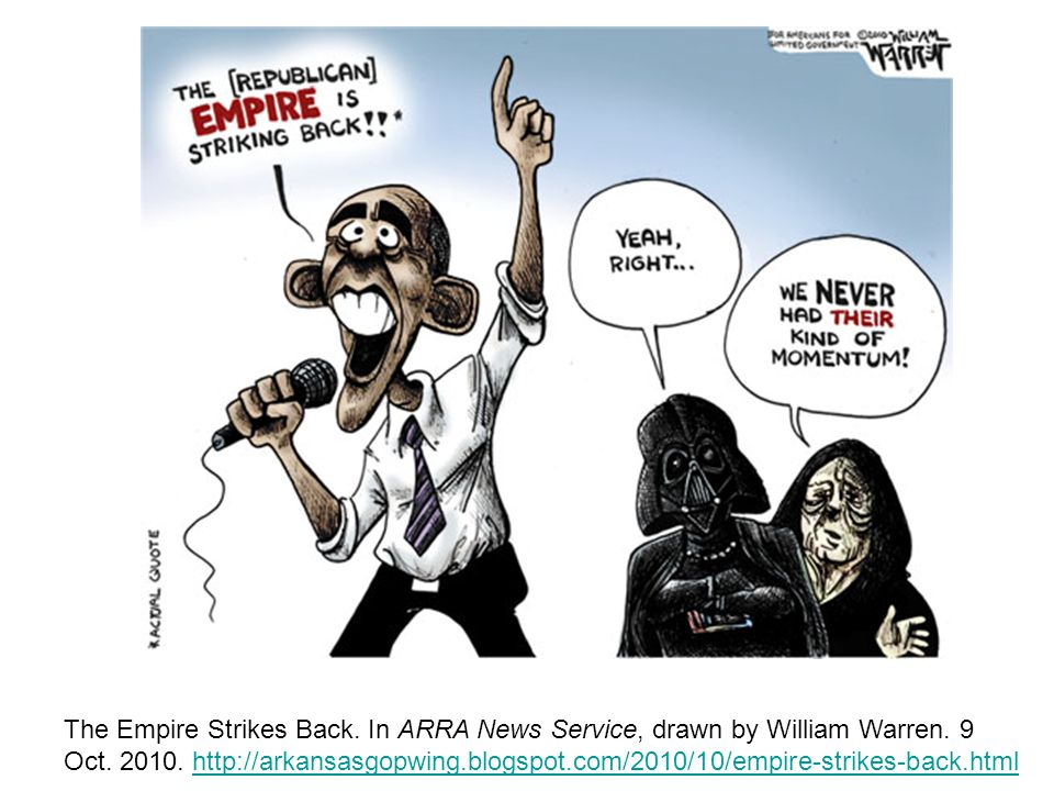 The Empire Strikes Back. In ARRA News Service, drawn by William Warren.