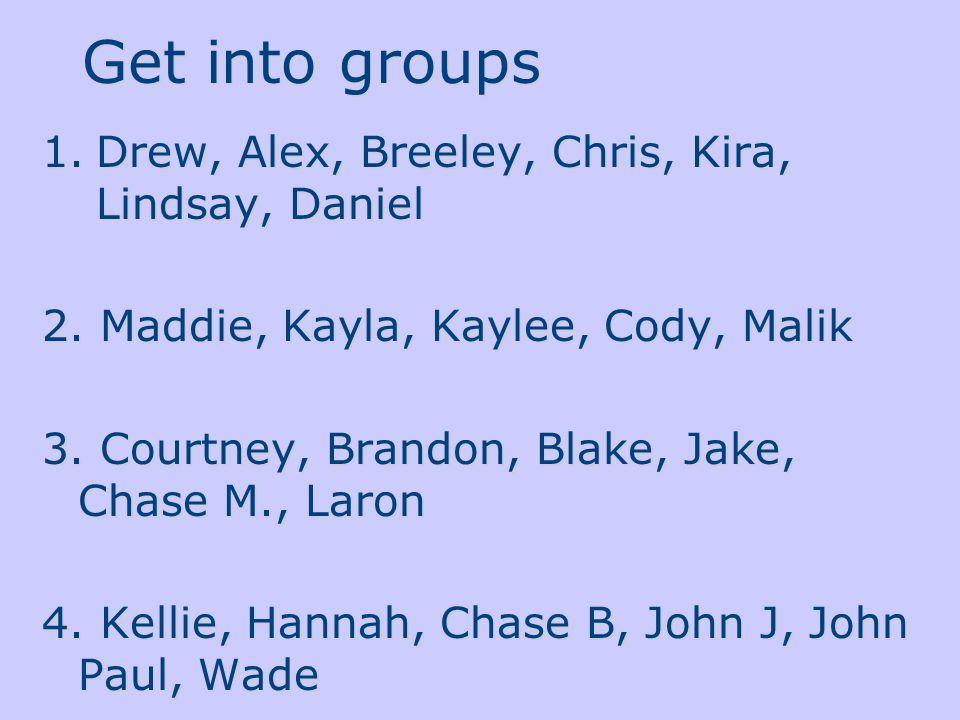 Get into groups 1.Drew, Alex, Breeley, Chris, Kira, Lindsay, Daniel 2. Maddie, Kayla, Kaylee, Cody, Malik 3. Courtney, Brandon, Blake, Jake, Chase M.,