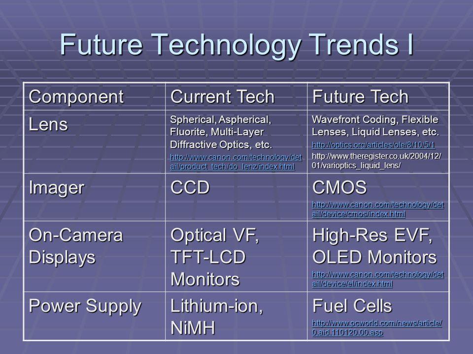 Future Technology Trends II Component Current Tech Future Tech CPU DIGIC II http://www.canon.ca/digitalphotograp hy/english/ctech_article.asp?id=208&t id=6 http://www.canon.ca/digitalphotograp hy/english/ctech_article.asp?id=208&t id=6 DIGIC XXVIII .