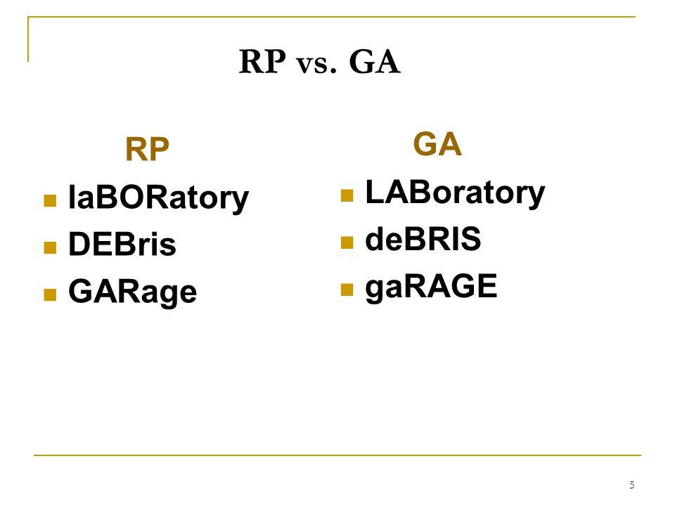 5 RP laBORatory DEBris GARage GA LABoratory deBRIS gaRAGE RP vs. GA