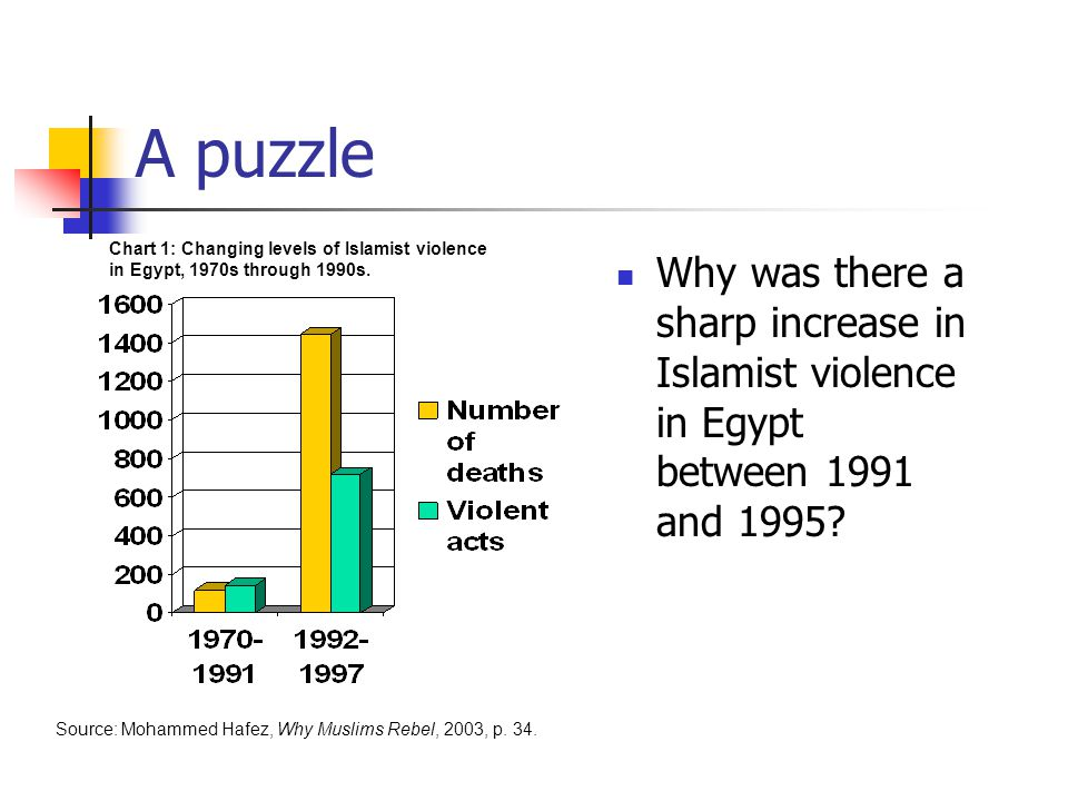 A puzzle Why was there a sharp increase in Islamist violence in Egypt between 1991 and 1995.